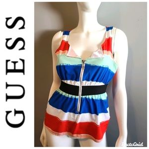 GUESS Silky Front Zippered Tank Top sz Small